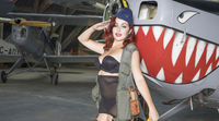 Retro, Military pinup american girl in the style of the 40s, sexy girl dressed as a soldier next to a war plane of the Second World War