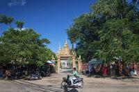 wat damnak temple door in central siem reap city cambodia