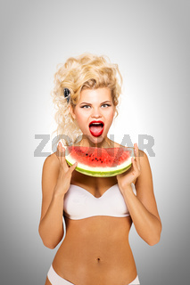 Bikini and watermelon.