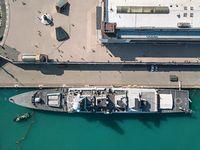 Battleship moored in dock