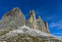 South face of the Three Peaks Mountains, Tre Cime di Lavaredo,Sexten Dolomites,Italy