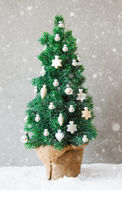 Vertical Fir Tree, Snow, Christmas Ball Ornament, Snowflakes