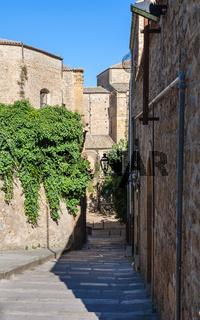 narrow street in Piazza Armerina town in Sicily