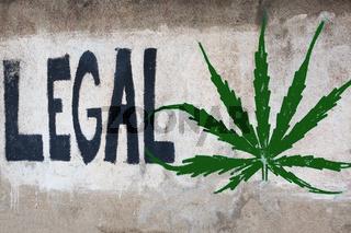 Graffiti mit der Botschaft, Cannabis zu legalisieren