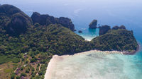 Aerial drone photo of Loh Lana Bay and Nui Bay beach, part of iconic tropical Phi Phi island