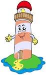 Cartoon lighthouse on white background - isolated illustration.