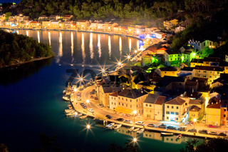 Novigrad Dalmatinski waterfront at evening aerial view