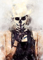 Digital watercolor painting of a woman with skeleton face art