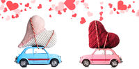 Retro toy cars with Valentine heart