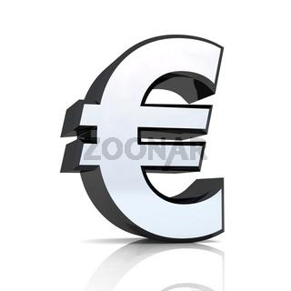 3D Euro symbol - Silber Schwarz / Chrom