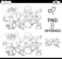 differences game with farm animal color book