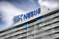 Logo of Nestlé at company headquarter