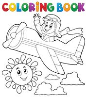 Coloring book pilot in retro airplane - picture illustration.