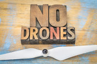 No drones sign or banner in wood type