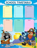 Weekly school timetable thematics 6 - picture illustration.