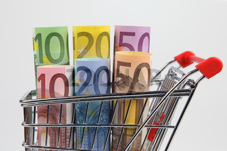 Mini shopping cart with euro bills