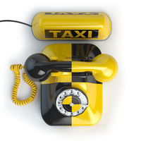 Taxi car sign and yellow telephone on white isolated background. Taxi phone concept. 3d