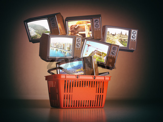 Shopping backet and old TV sets with different channels on the screens. Advertising tv channels concept.