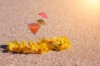 Tropical Drink and Lei on Beach Shoreline