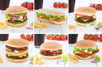 Hamburger Sammlung Collage Cheeseburger Burger Cola Getränk