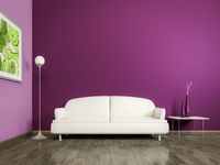 purple room with a white sofa