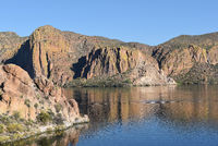 Canyon Lake, Arizona, in the Tonto National Forest the lake is formed by the Mormon Flat Dam