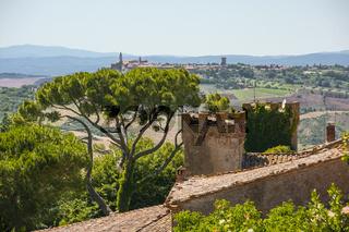 Blick über Monticello , Blick auf Montalcino, Italien, Toskana