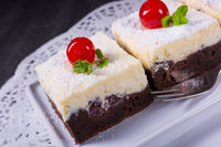 chocolate cream cake with cherries