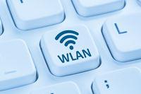 WLAN oder WiFi Hotspot Verbindung Internet blau Computer Tastatur