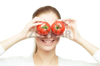 young cheerful woman with tomatos
