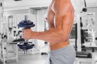 Kraft Power stark muskulös Bizeps Arm Fitnessstudio Bodybuilder Bodybuilding Muskeln Hantel