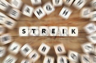 Streik streiken Demonstration Demo Protest Würfel Business Konzept