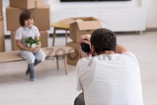 Photoshooting with kid model