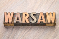 Warsaw word abstract in wood type
