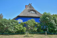the famous blue Barn of Vitte on Hiddensee,baltic Sea,Mecklenburg western Pomerania,Germany