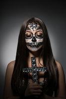 Santa Muerte. Pretty girl with glamorous face art