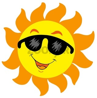 Cartoon Sun with sunglasses - isolated illustration.