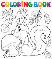 Coloring book squirrel theme 2 - picture illustration.