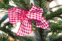 red checked bow at christmas tree