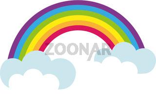 Rainbow, icon flat style. St. Patrick's Day symbol. Isolated on white background. Vector illustration.