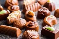 Mixed belgian pralines. Chocolate truffles.