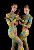 Nude blondes with colorful bodyart isolated shot