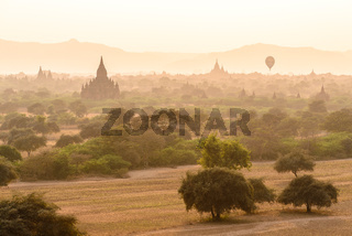 Ancient templefield of Bagan at sunset