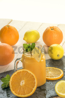 Orange juice in a jar