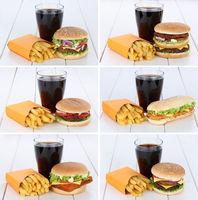 Hamburger Sammlung Collage Cheeseburger Menu Menü Menue Pommes Frites Cola