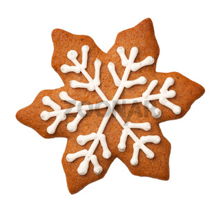 Gingerbread Snowflake Cookie Isolated on White Background
