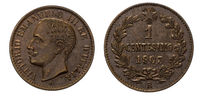 One 1 cent Lire Copper Coin 1903 Value Umberto I Kingdom of Italy