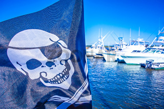 pirate flag flapping in the wind at a marina