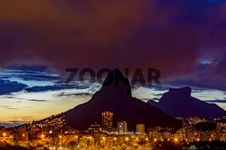 HDR skyline of Rio de Janeiro city at dusk