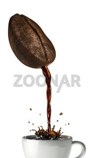 Huge coffee bean with hole pouring coffee into a mug splashing.